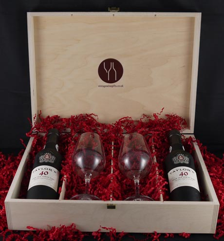1936 Taylor Fladgate 80 years of Port (2 X 35cl) with two Taylors Port glasses.