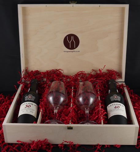 1946 Taylor Fladgate 70 years of Port (35cl) with two Taylors Port glasses.
