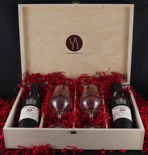 1956 Taylor Fladgate 60 years of Port (35cl) and two Taylors Port glasses.