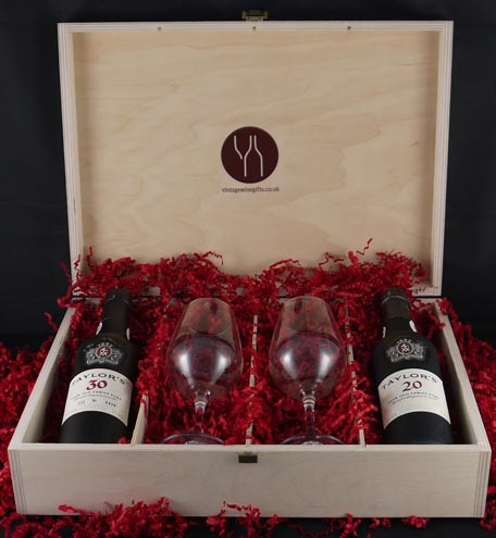 1966 Taylor Fladgate 50 years of Port (35cl) and two Taylors Port glasses.