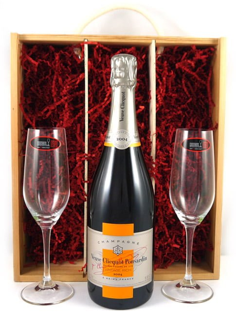 2004 Veuve Clicquot Brut Champagne Rich Reserve 2004 with Two Riedel Crystal Champagne Flutes