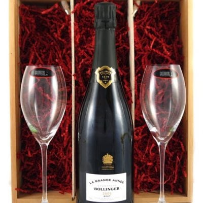 2005 Bollinger Grand Annee Vintage Champagne 2005 with Two Riedel Champagne Flutes
