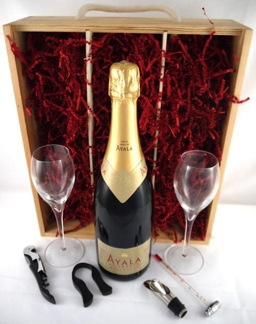 2006 Ayala Vintage Champagne and two Crystal Champagne Glasses 2006