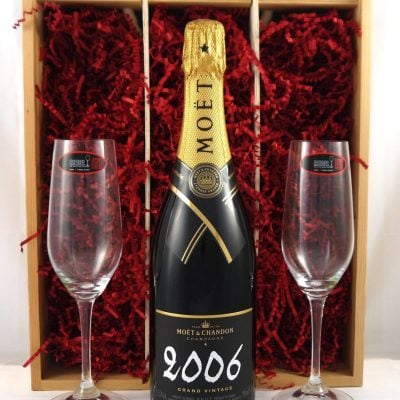2006 Moet & Chandon Grand Brut Vintage Champagne 2006 with Two Riedel Champagne Flutes