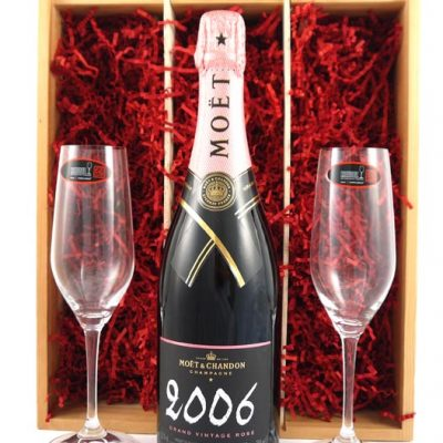 2006 Moet & Chandon Grand Rose Vintage Champagne 2006 with Two Riedel Champagne Flutes