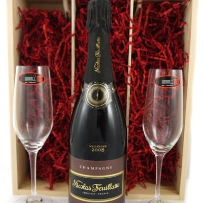 2008 Nicholas Feuillatte Vintage Champagne 2008 with Two Riedel Crystal Champagne Flutes