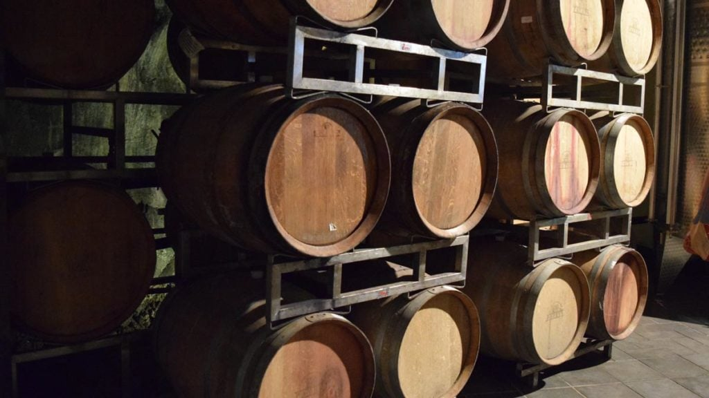 Winemaking aging of the wine in barrels