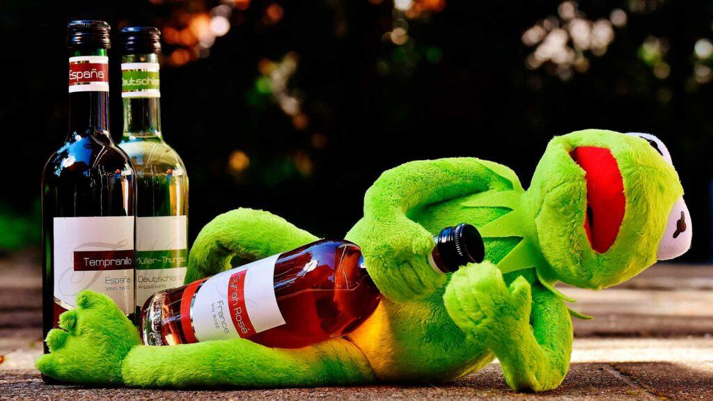 Kermit with Rosé Wine