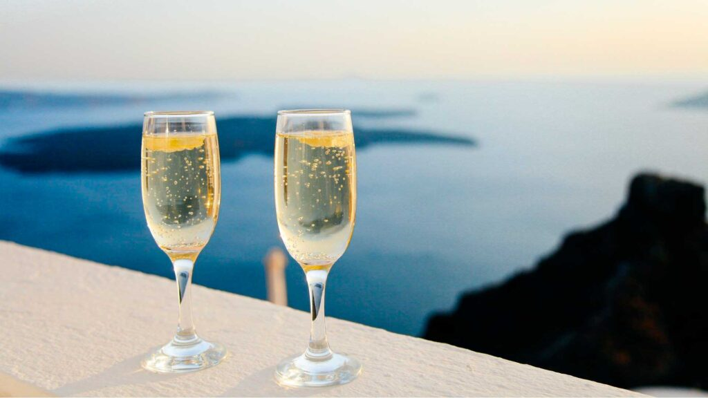 Sparkling wine at the ocean