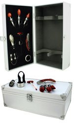 Aluminium Case - 2 Bottle With Wine Accessories Twin Bottle Gift Box