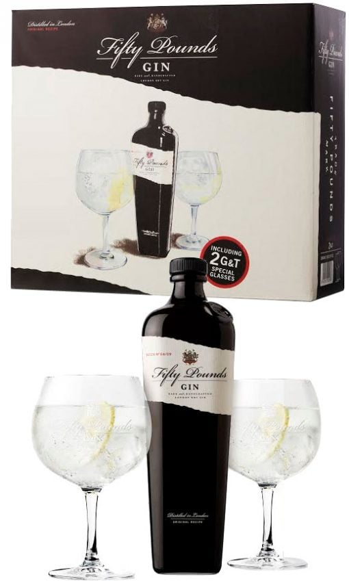 Fifty Pounds - Gin Glass Pack 70cl Bottle