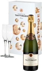 Taittinger - Brut & 2 Glass Pack Champagne Gift Box - 1 Bottle